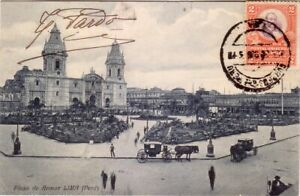 Peru - 1908 Lima - Plaza de Armas used postcard