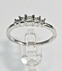 Natural Diamond Princess cut 5 stone ring in white gold