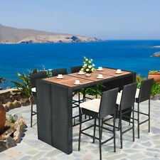 7 PCS Patio Rattan Wicker Bar Dining Furniture Set wood Table Outdoor Indoor