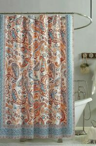 Jessica Simpson Caicos Shower Curtain 72x72'' Coral Cotton Face Polyester Lining