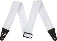"Genuine Fender WeighLess 2"" Running Logo Elastic Stretch Guitar Strap, White"