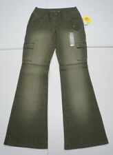 Gasoline Womens Juniors 3 Green Stretch Snap Fly Flare Leg Jeans NWTs