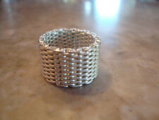 Extra Wide Wedding Band Ring 7.5 Silver Tone Metal Somerset Style Flexible Mesh