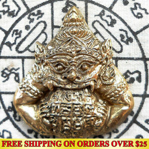 Brass Giant Phra Rahu Om chan ( Moon Eater) Powerful Thai Amulet Talisman Wealth
