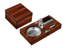 Rich High Gloss Walnut Finish Folding Cigar Ashtray Cutter Punch Set