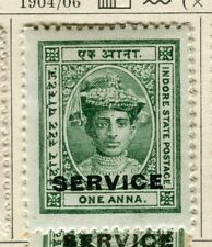 INDIA; INDORE-HOLKAR 1904 early local SERVICE issue Mint hinged 1a. value