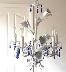 Floral ITALY TOLE BLUE CRYSTAL 5 light White finish Chandelier PLUGIN OPTION