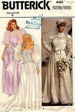 1980's VTG Butterick Misses' Wedding Dress Pattern 6304 Size 8 UNCUT