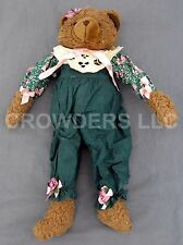 "18"" Stuffed Bear Green Overall Flower Shirt Lace Ribbons & Bows ABC Distributing"