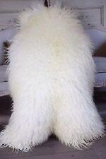 Genuine Natural Mongolian Sheepskin Rug, Pelt, CURLY FUR WHITE