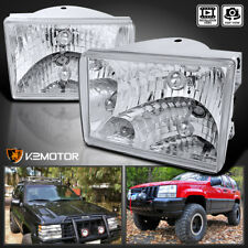 93-98 Jeep Grand Cherokee Chrome/Clear Diamond Headlights Left+Right