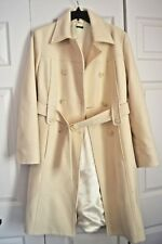 Ivory Cream-colored Bennetton Wool Belted Winter Coat Size eu44 Formal