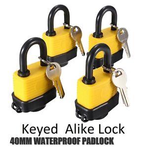Lot 4 12 2 40mm Waterproof Keyed Alike Lock Laminated Padlock Pad Same Key Gate