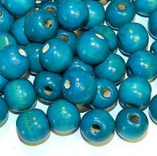 WL744p Turquoise Blue 18mm Semi- Round Large Wood Beads 250-Grams