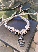 Handmade Day Of The Dead Howlite Skulls and Silver Skull Bracelet. Emo Goth gift