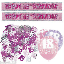 Pink 18th Birthday Banner Party Decorations Pack Kit Set Balloons Glitz Girl