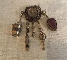 Antique Magnificent Sterling Silver Dutch Royal Seal Chatelaine Brooch Pin