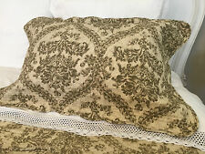"BEAUTIFUL FINELY STITCHED FRENCH STYLE QUILTED PILLOWSHAM 100% COTTON 20""X30"""