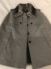 Burberry Prorsum Wolseley Cape Jacket w/Detachable Fur Collar Size L $1995