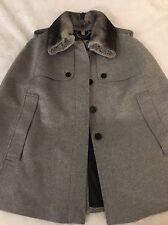 Burberry Prorsum Wolseley Cape Jacket w/Detachable Fur Collar Size L $1995