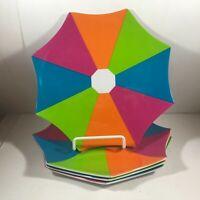 Set of 4 MUD PIE Plastic Picnic Plates Umbrella Design