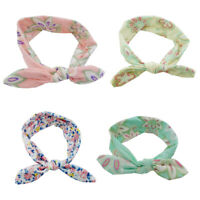 4Pcs Baby Infant Turban Rabbit Ear Headband Flower Hairband Bow Knots Head Wrap^