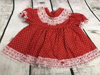 Vintage Cute Baby Apron Dress Red/White Polka Dot w/White Lace Girl 6-9 Months