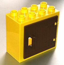 *NEW* Lego DUPLO YELLOW WINDOW DOOR 2X4X3 with BROWN WOODEN GATE with Handle