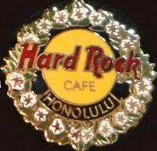 Hard Rock Cafe HONOLULU 1990s HRC Logo with Lei & Flowers PIN HRC Catalog #15657