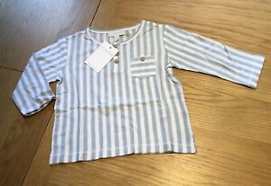 The Little White Company Stripe Henley Top, Blue & White, Age 12-18 Months - NWT