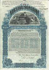 1904 NEW JERSEY The Lake Superior Corp Bond Stock Certificate Sault St Marie