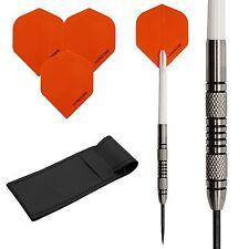 22g Tungsten Darts Set, Hardcore Standard dart flights , White shafts, Case!