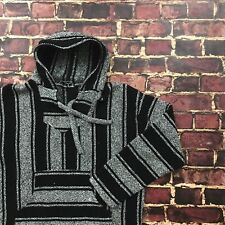 Vtg Baja Hoodie Mexican Poncho Stripe Pullover Gray Surf Beach Fleece Jacket