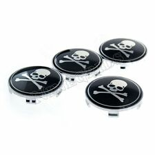 4pcs 68mm Skull 3D Logo Emblem Badge Decal Stickers + Car Wheel Center Hub Caps