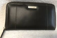 Kenneth Cole LEATHER Wallet Full Zip Around DARK BROWN 9 card slot organizer NEW