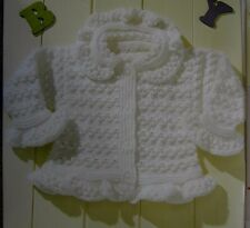 """BABY CARDIGAN/TUNIC/BOBBLE/LACY-FRILL EDGING DOUBLE KNITTING PATTERN 16-24""""(2A)"""