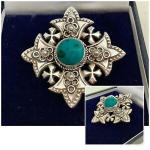 Vintage Sterling Silver Turquoise Cross Brooch Pendant Signed Bethlehem Jordan
