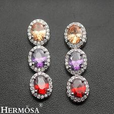 Sterling Silver Drop Earrings 1 1/4'' Garnet Amethyst Morganite Shiny New 925