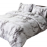 Bedsure Marble Printed Comforter Set Full/Queen, White - 3-Piece Set - Super for