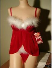Red Velvet and White Marabou Trim Baby Doll and G-string Size 1X Shirley X3023