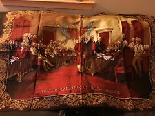 Signing Declaration of Independence 1776 Woven Tapestry Fringe Rug