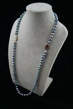 """Peacock Pearl Necklace with Double Ornaments Round Baroque 33"""" long 10-11 mm"""