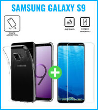 Transparent Case Cover+Screen Protector Tempered Glass Fr Samsung Galaxy S9