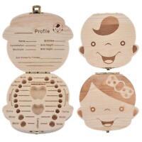 Storage Small Kids Childs New Baby Tooth Keepsake Wooden Box W5G2 Save Boy K6W3