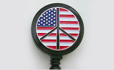 PEACE SIGN FLAG Retractable ID  Security Card Holder Badge Reel Key Chain Ring