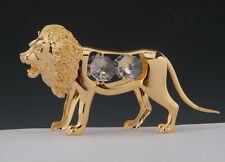 """SWAROVSKI CRYSTAL ELEMENTS """"Lion"""" FIGURINE - ORNAMENT 24KT GOLD PLATED"""