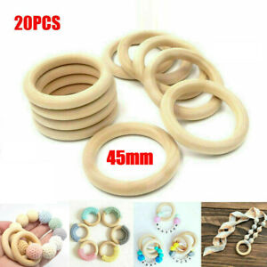 20X45mm DIY Wooden Teether Teething Ring Natural Untreated Wood Baby Gift