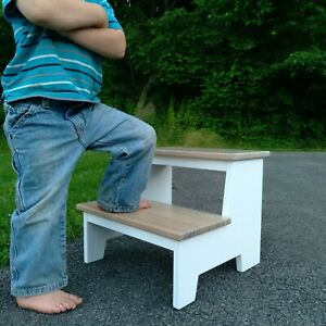 Handcrafted Solid Wood  Toddler Kids Step Stool 2 Step White Bleached White Oak