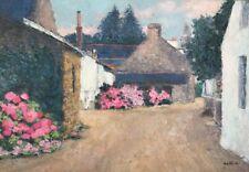 Annie PETIT 1942.Village du Morbihan.Huile/toile.SBD.38x55.Titrée,signée au dos