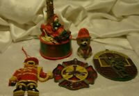 Lot (5) Vtg Fireman Christmas Ornaments & Decor Holiday Festive Collectibles 408